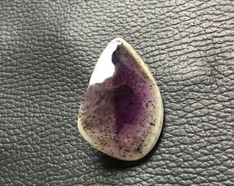 40x25x9 mm Rare Moss Amethyst Cabochon Gemstone Unshaped One Side Handmade Polish Good Quality