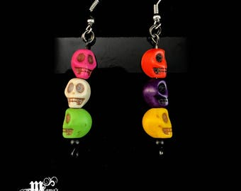 Halloween Earrings with Multi-Coloured Skulls, Colourful, Kids, Adults, Party, Scary, Dead, Wrist, Candy, Fall, Decorate, Decorations, Boo