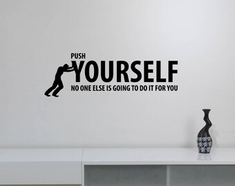 Push Yourself Motivational Quote Wall Decal Vinyl Lettering Success Fitness Gym Inspirational Sticker Art Home Room Office Decor hq34