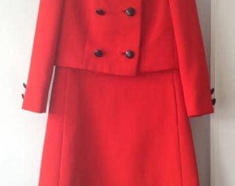Dan Millstein 1960s Vintage Red Fur Trimmed Dress Ensemble
