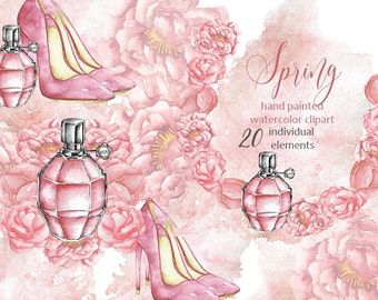 Floral Fashion Watercolor Clipart, watercolor Peonies, Perfume, Louboutin inspired shoes, floral elements, wreaths, flower clipart