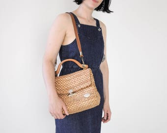 80s Woven Straw Shoulder Bag / Made in Italy