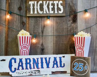 Painted Wood Carnival Sign, Reclaimed Wood, Party Sign, Indoor and Outdoor Decoration
