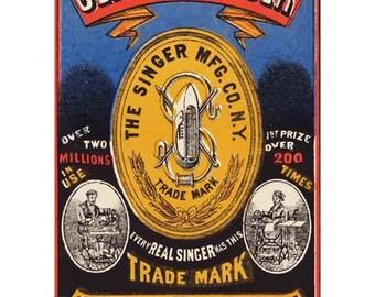 Genuine Singer Sewing Machine Poster Print Art - Vintage Print Art - Home Decor
