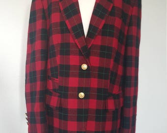 1990s Horst Basler jacket•vintage jacket•tartan jacket•red jacket•wool jacket•UK 14/16•12/14