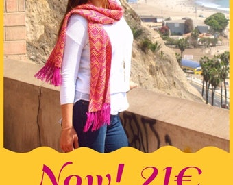 Scarf wool of Alpaca, hand-woven scarf crochet, Peruvian wool, handmade, gift, winter