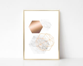3 Hexagons Printable Art,Printable Wall Art Print,Geometric Style Print, Marble Effect Print,Marble Rose Gold Print,Instant Download