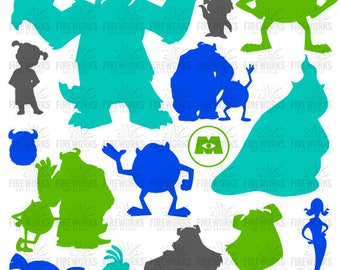 Monsters Inc - Disney Inspired Characters Silhouette - Kids Room - Digital File - Cutting File in Svg png eps dxf & jpg - Silhouette files