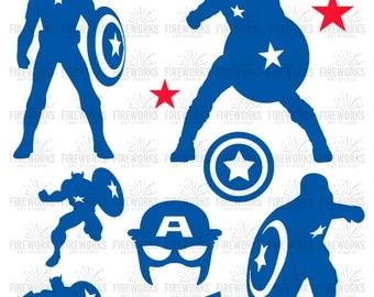 Captain America svg - Captain America Superhero - svg, eps, dxf, ai, jpg, png - Superhero Clipart - Cricut - Svg Cut Files - Silhouettes