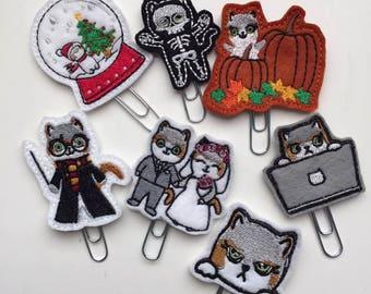 Assorted Mauly Feltie Planner Clips - Wizard, Pumpkin, Skeleton, RBF, Keyboard, Wedding