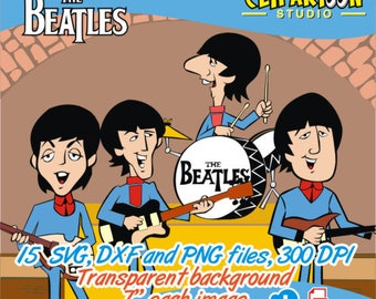 The Beatles set of 15 SVG, DXF and PNG cliparts, instant download. use in invitations, decorations, cutting machines, etc