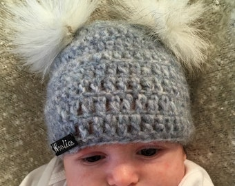 FREE SHIPPING! Easter Sale! 0-3 Months - Blue Crocheted Baby Pom Pom Beanie - Made with Ultra Soft Alpaca Wool Blend