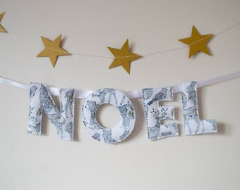 White and gold NOEL banner / NOEL bunting / white and gold Christmas decor / woodland animals / metallic Christmas decor / Christmas bunting