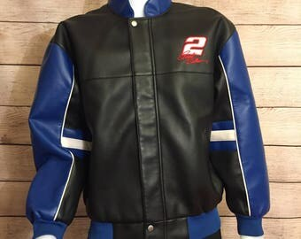 Vintage Rusty Wallace #2 Miller Lite Beer Nascar Leather Racing Jacket by Winners Circle