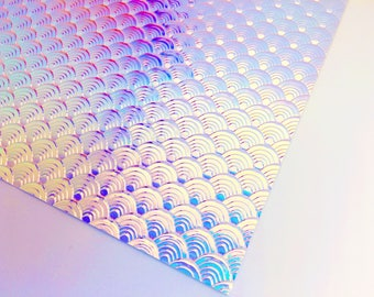 Iridescent Mermaid Scales- Color Changing Holographic Faux Leather | Faux Leather | Iridescent Faux Leather | Mermaid Faux Leather