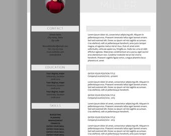 "Resume template 4 page | CV template + cover letter for MS Word | Instant digital download | Professional template | ""Meredith"""