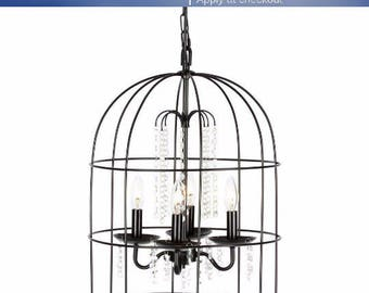 10% SALE! Metal Cage lamp- industrial cage lamp- ceiling lamp- cage chandeliers- steampunk cage- ceiling metal lamp- home and living