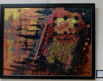 "Framed Mixed Media Abstract Painting ""Interference"""
