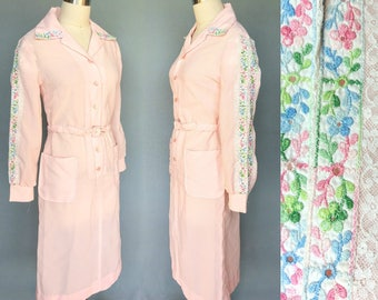 may flowers / 1970s pink shirtwaist dress with floral embroidered sleeves / small - medium