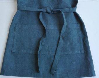 Blue Green apron, Linen Half Apron with Front Pockets, Linen Cafe Apron, Vintage Style Apron, Shabby Chic Apron, Blue Cuisine Apron