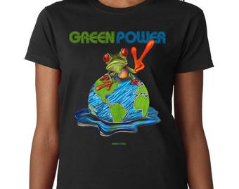 Green Power T-Shirt Men's Women's Unisex, Graphic Tee, Original Art