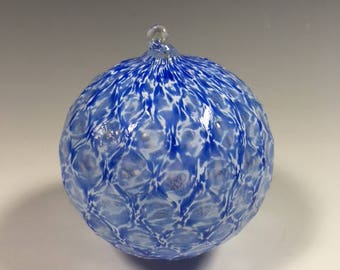 Hand Blown Glass Ornament:  Ocean Blue and White Faceted Sphere