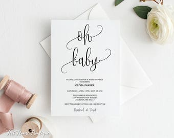 Baby Shower Invitation, Oh Baby Invitation, Baby Shower Invite, Calligraphy Invitation, BS01