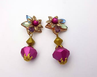 Vintage Clip on 80s Earrings Drop Colorful Floral Plastic Rhinestones and Beads New Wave Industrial Modernist Modern Retro Fashion Runway