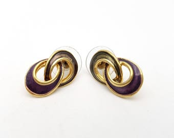 Vintage Oval Pierced Earrings Purple Enamel on Gold Tone Metal Loops Stud Geometric Modernist Mod Retro Classic Feminine Statement