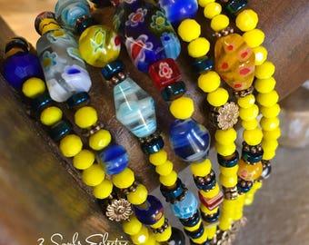 Beaded Bracelet, Multi Strand, Bohemian Style, Clasp Bracelet, Mille Fleur Beads, Gypsy Spirit, Seven Stranded, Ladies Wristlet, Jewelry