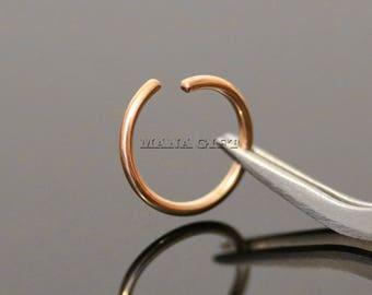 14G, 16G, 18G, 20G, Rose Gold Annealed Cartilage Hoop Ring, Tragus Percing Ring, Rose Gold Helix Piercing, Rose Gold Rook Piercing, H 463