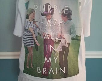 1970's Classic Rock/Concert/Band T-Shirt - Jimi Hendrix - Guitarist - All Along the Watchtower - Purple Haze All in My Brain - Size M