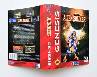 Alien Soldier Game w/ Case - Sega Genesis Repro Custom English Version