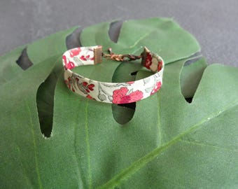 Cuff, Liberty London Helena's Meadow E, flowers, red and green