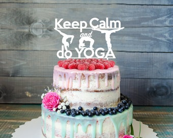 Yoga birthday Cake Topper- Customizable Cake Topper- Birthday Cake Topper- Silhouette yoga Cake Topper- Yoga cake topper Christmas Gift