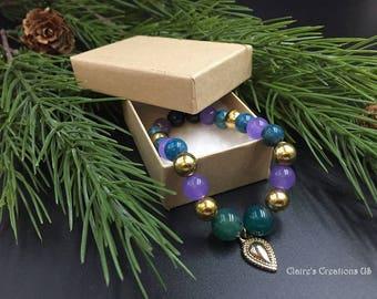 Gasparina - stretch bracelet lavender quartz aventurine gift holiday charm