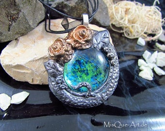Romantic pendant with blue green stone and rose