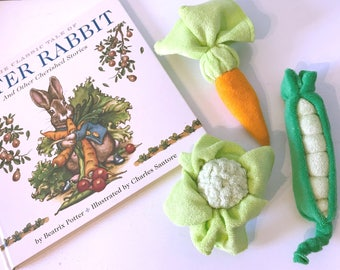 Peter Rabbit baby gift, shower favors, washcloth veggies, unique baby gift, Diaper cake topper, baby shower decorations, beatrix potter gift