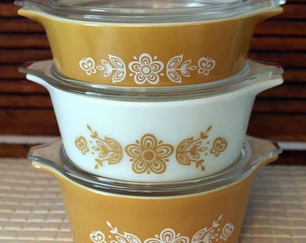 Pyrex Butterfly Gold Casserole Dishes with Lids, Pyrex 471 with Lid, Pyrex 472 with Lid, Pyrex 473 with Lid, Casserole Dish Set of 3