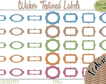 Printable Labels Clipart, Wicker Digital Labels, Label Shapes Printable, Scrapbook Labels Set, Labels Digital Clipart, Rustic Labels Kit