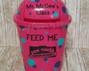 Box Tops for Education - Personalized - Pink Trash Can - Teacher Gift - Polka Dots