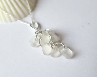 Sea Glass Pendant, Cluster Necklace, Sea Glass Jewelry, Sterling Silver, Seaglass Jewellery, Seaglass Necklace, White Wedding - P170060