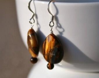 Tiger Eye Beaded Earrings, Dangle Earrings, Tiger Eye Drop Earrings, Silver Beaded Earrings, Brown Beaded Earrings, Gemstone Jewelry Gift