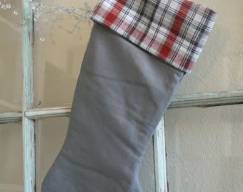 Gray Linen Stocking--Plaid Cuff #27
