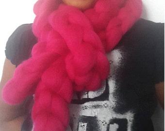 MERINO Wool Giaint Infinity Magenta scarf