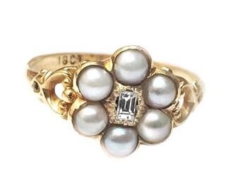 Antique Georgian natural pearl diamond ring