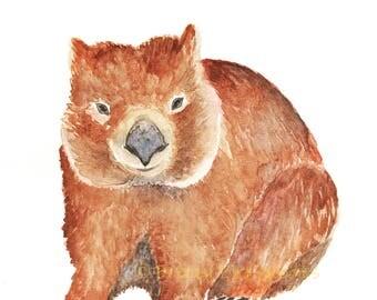 The Outback Wombat Print, Watercolour Wombat, Australian Wombat, Native Australian Animal, Australian Marsupial Animal, Wombat Illustration
