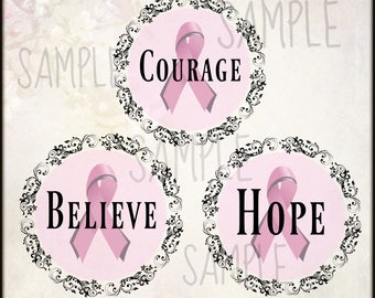 Breast Cancer Cameos, Scrapbooking Digital Embellishments-Instant Clip Art- Commercial Use