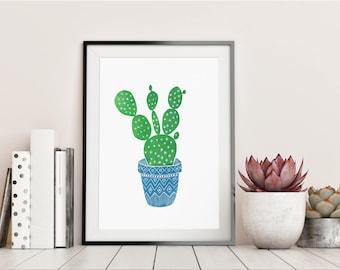 Cactus Print Art, linocut print, cactus in pot, cactus wall art, cactus art, succulent print, linocut art, cactus decor, A4 print, botanical
