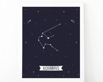 Aquarius Print, Aquarius constellation, Zodiac Constellation, zodiac Wall Art, Astrology Poster, Digital print, printable art, Nursery art